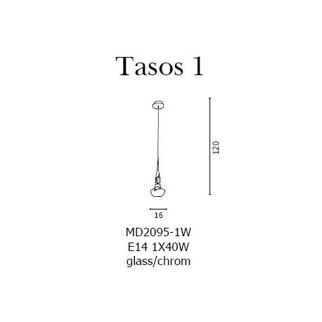 TASOS 1 LAMPA WISZĄCA AZZARDO MD2095-1BK CZARNA