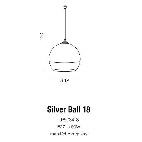 SILVER BALL 18 LP5034-S LAMPA WISZĄCA AZZARDO