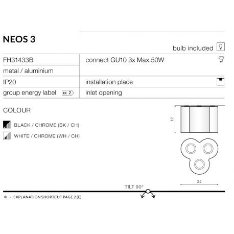 NEOS 3 REFLEKTOREK POTRÓJNY AZZARDO FH31433B WH/CH