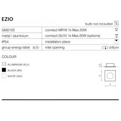 EZIO GM2105 WH LAMPA OCZKO WPUSZCZANE AZZARDO WHITE