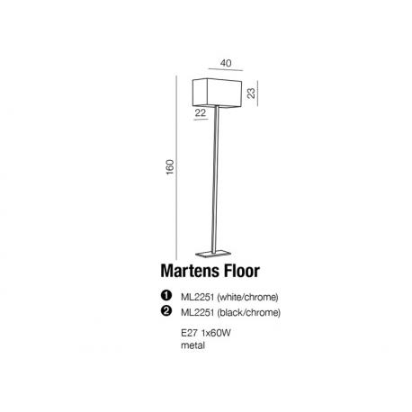 MARTENS LAMPA PODŁOGOWA ML2251 CZARNY/CHROM AZZARDO