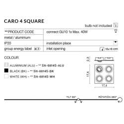 CARO 4S SN-6814S-WH OPRAWA WPUSZCZANA W SUFIT AZZARDO