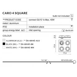 CARO 4S SN-6814S-ALU OPRAWA WPUSZCZANA W SUFIT AZZARDO