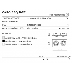 CARO 2S SN-6812S-WH OPRAWA WPUSZCZANA W SUFIT AZZARDO