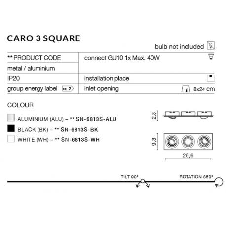 CARO 3S SN-6813S-ALU OPRAWA WPUSZCZANA W SUFIT AZZARDO