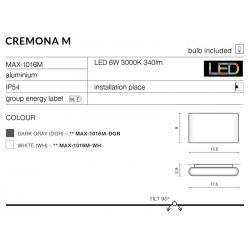 CREMONA M MAX-1016M-WH KINKIET AZZARDO LED