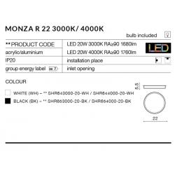 MONZA R 22 WH 3000K PLAFON BIAŁY NATYNKOWY AZZARDO LED AZ2261