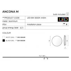 ANCONA M AZ2194 KINKIET LEDOWY AZZARDO CZARNY
