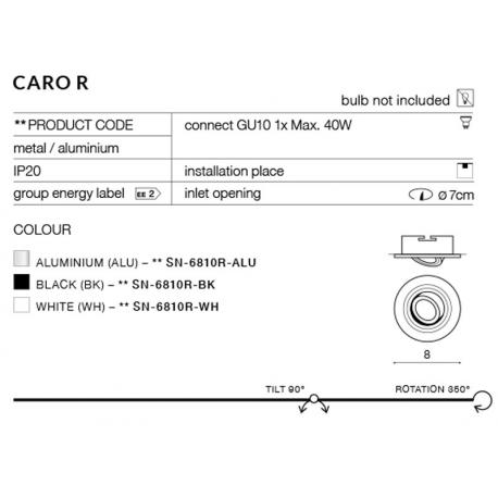 CARO R AZ2435 OPRAWA WPUSZCZANA W SUFIT AZZARDO aluminium