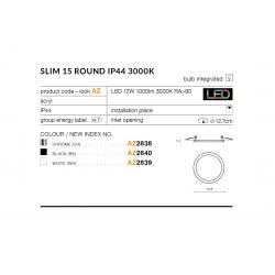 SLIM 15 ROUND 4000K IP44 CHROME AZ2841 LAMPA SUFITOWA PLAFON LED AZZARDO