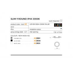 SLIM 9 ROUND 3000K BLACK IP44 AZ2834 LAMPA SUFITOWA PLAFON LED AZZARDO