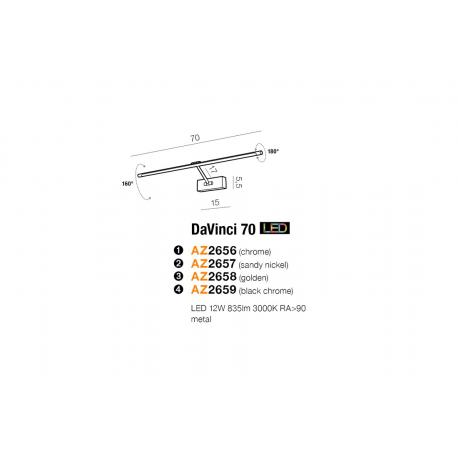 DAVINCI 70 CHROME KINKIET LED NAD LUSTRO AZZARDO AZ2656