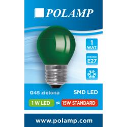 Żarówka LED G45 E27 1W zielona 5902811503785 POLAMP