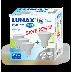 LL326-3+1 ŻARÓWKA LED GU10  ZESTAW 3+1, 8W, 6500K LUMAX