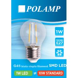 Żarówka LED G45 E27 1W Biała Ciepła Filament...